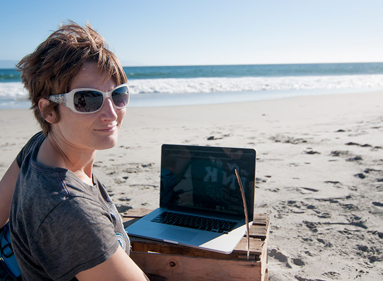 Jenny working at the beach