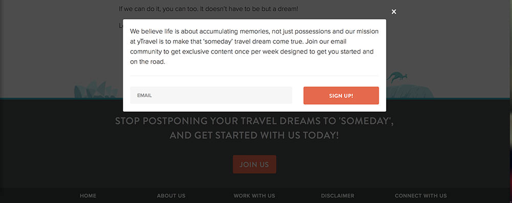 ytravel-email-pop-up-form-design-copywriting