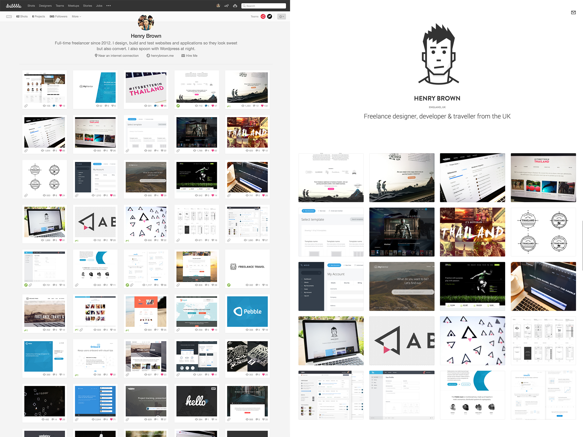 My Dribbble profile is on the left and my portfolio website is on the right